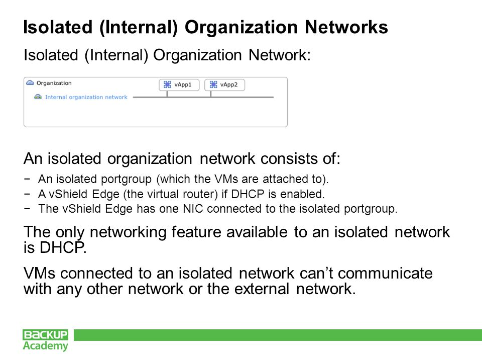 Isolated (Internal) Organization Networks Isolated (Internal) Organization Network: An isolated organization network consists of: −An isolated portgroup (which the VMs are attached to).