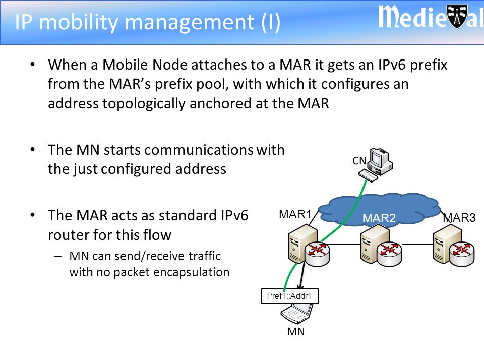 When a Mobile Node attaches to a MAR it gets an IPv6 prefix from the MAR's prefix pool, with which it configures an address topologically anchored at the MAR The MN starts communications with the just configured address The MAR acts as standard IPv6 router for this flow – MN can send/receive traffic with no packet encapsulation IP mobility management (I) Pref1::Addr1 MAR1 MAR2 MAR3