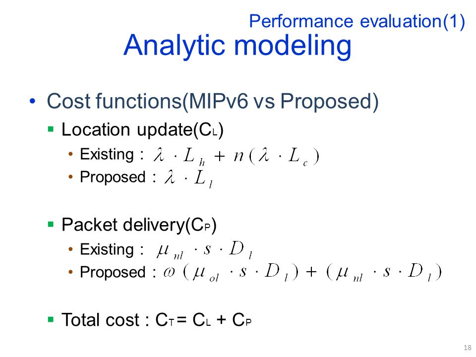 Analytic modeling Cost functions(MIPv6 vs Proposed)  Location update(C L ) Existing : Proposed :  Packet delivery(C P ) Existing : Proposed :  Total cost : C T = C L + C P 18 Performance evaluation(1)
