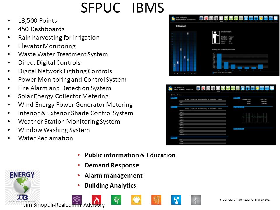 Proprietary Information Of Energy 2013 SFPUC IBMS 13,500 Points 450 Dashboards Rain harvesting for irrigation Elevator Monitoring Waste Water Treatmen