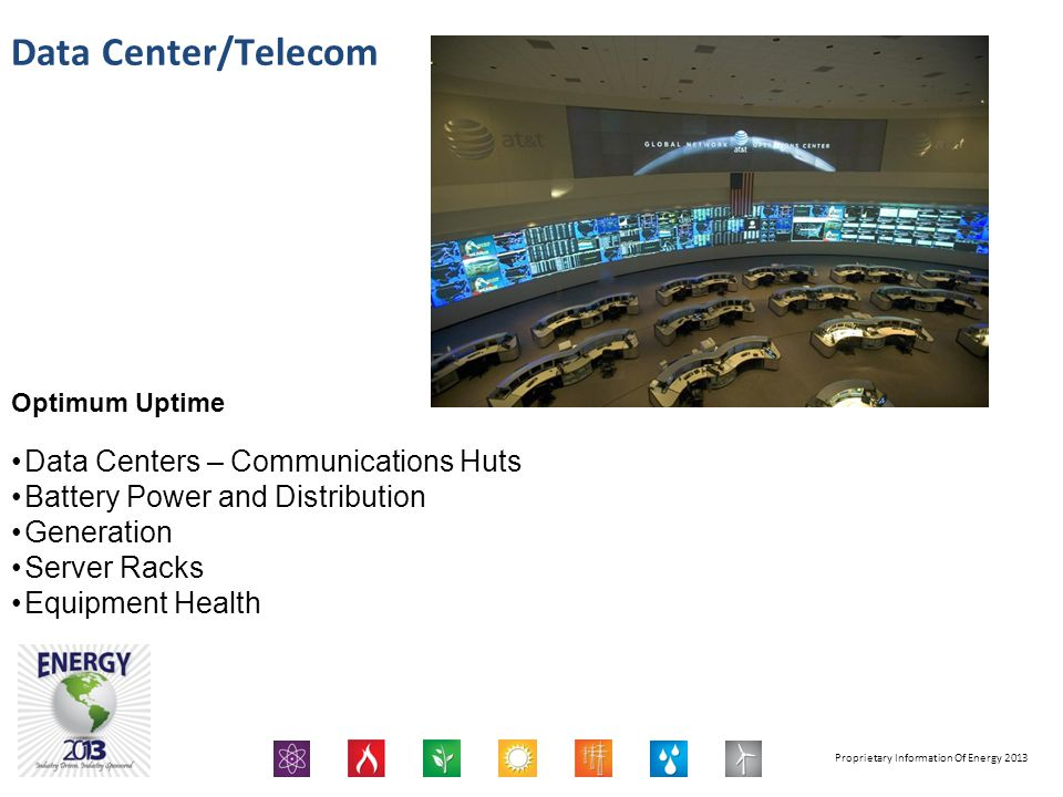 Proprietary Information Of Energy 2013 Data Center/Telecom Optimum Uptime Data Centers – Communications Huts Battery Power and Distribution Generation