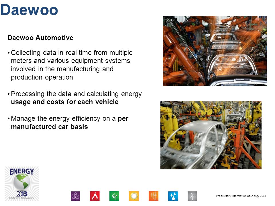 Proprietary Information Of Energy 2013 Daewoo Daewoo Automotive Collecting data in real time from multiple meters and various equipment systems involv