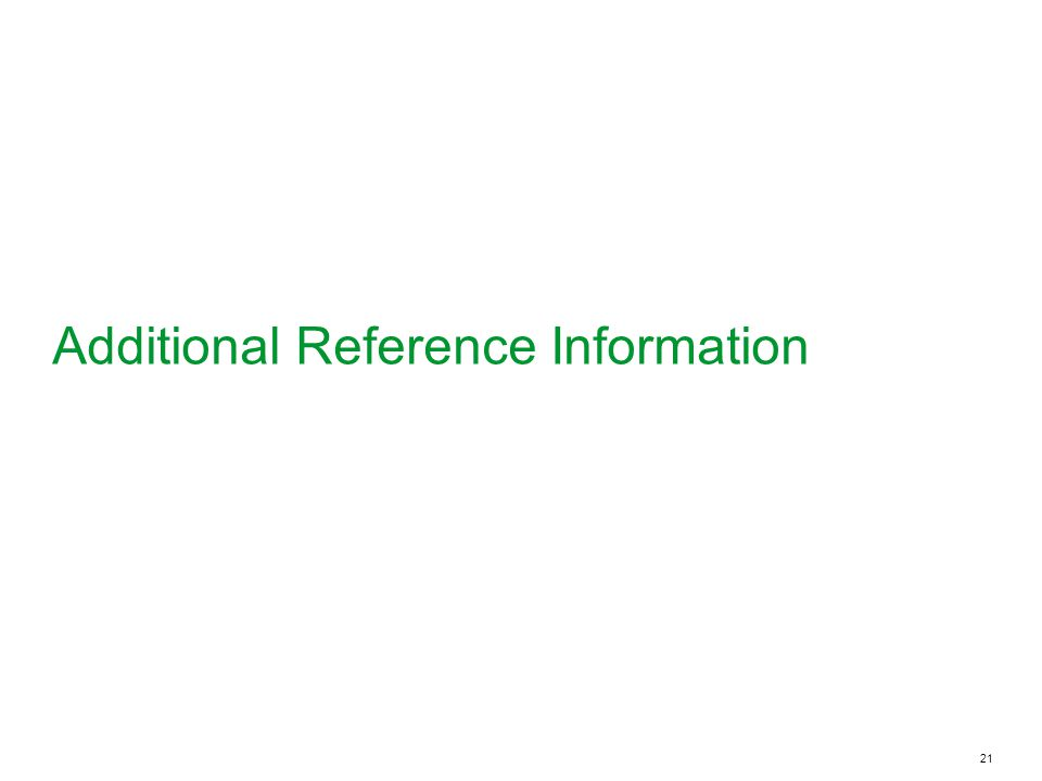 21 Additional Reference Information