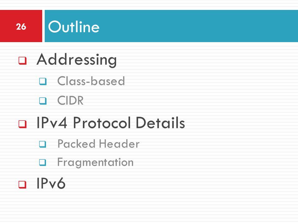  Addressing  Class-based  CIDR  IPv4 Protocol Details  Packed Header  Fragmentation  IPv6 Outline 26