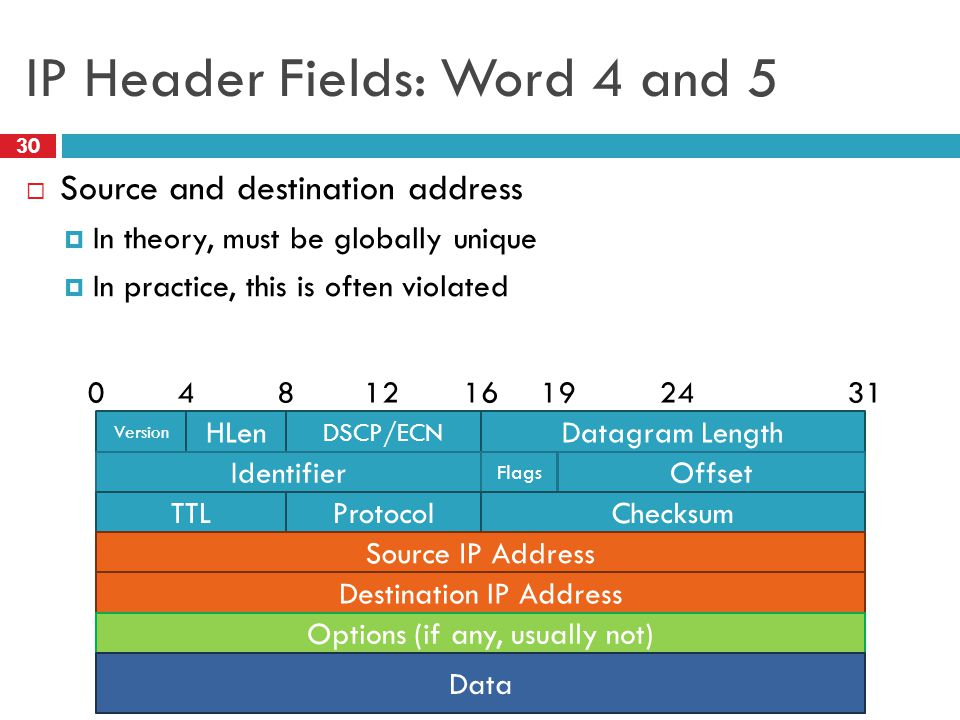 IP Header Fields: Word 4 and 5 30  Source and destination address  In theory, must be globally unique  In practice, this is often violated Version HLen DSCP/ECN Datagram Length 0816243141219 Identifier Flags Offset TTLProtocol Checksum Source IP Address Destination IP Address Options (if any, usually not) Data