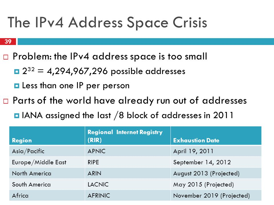 The IPv4 Address Space Crisis 39  Problem: the IPv4 address space is too small  2 32 = 4,294,967,296 possible addresses  Less than one IP per person  Parts of the world have already run out of addresses  IANA assigned the last /8 block of addresses in 2011 Region Regional Internet Registry (RIR)Exhaustion Date Asia/PacificAPNICApril 19, 2011 Europe/Middle EastRIPESeptember 14, 2012 North AmericaARINAugust 2013 (Projected) South AmericaLACNICMay 2015 (Projected) AfricaAFRINICNovember 2019 (Projected)