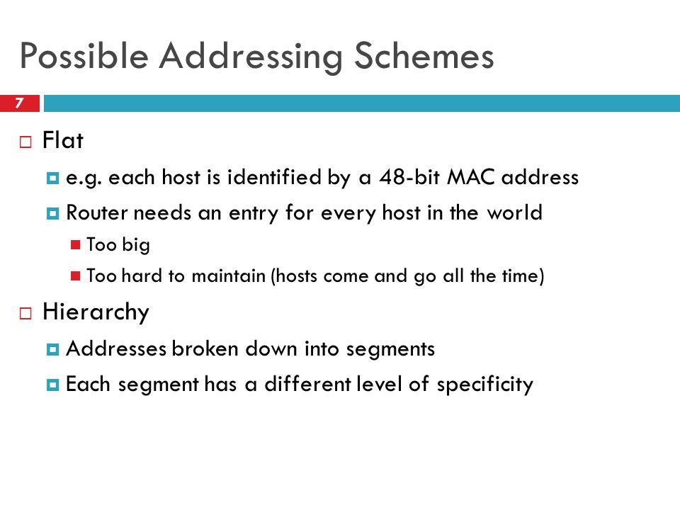 Possible Addressing Schemes 7  Flat  e.g.