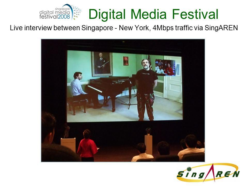 Digital Media Festival Live interview between Singapore - New York, 4Mbps traffic via SingAREN