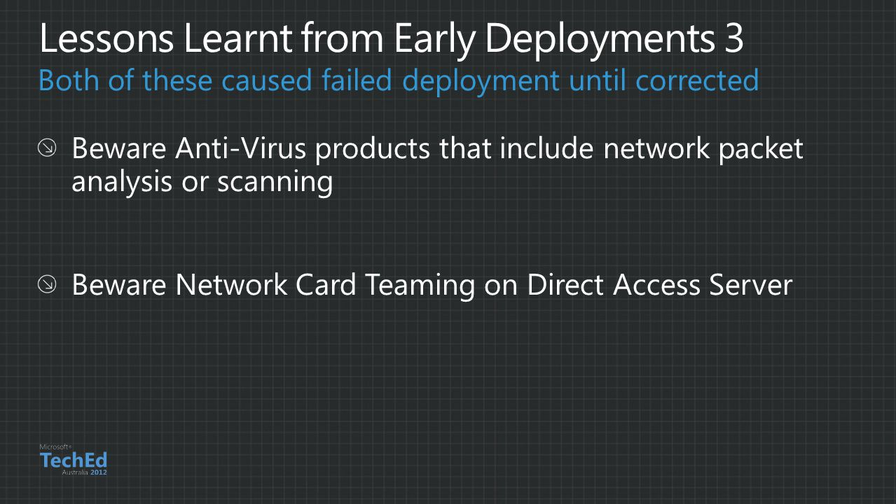 Both of these caused failed deployment until corrected