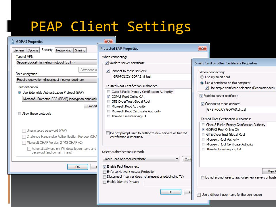 PEAP Client Settings