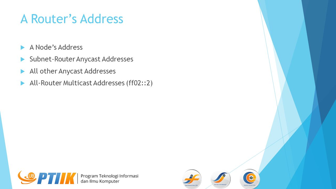 A Router's Address  A Node's Address  Subnet-Router Anycast Addresses  All other Anycast Addresses  All-Router Multicast Addresses (ff02::2)