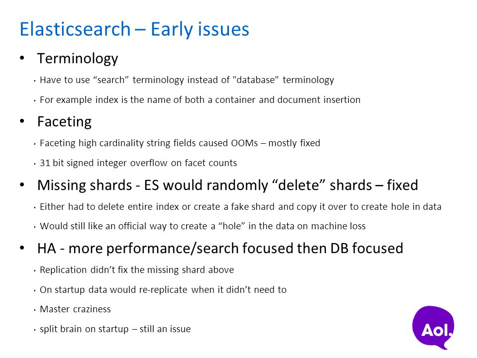 """Elasticsearch – Early issues Terminology Have to use """"search"""" terminology instead of"""