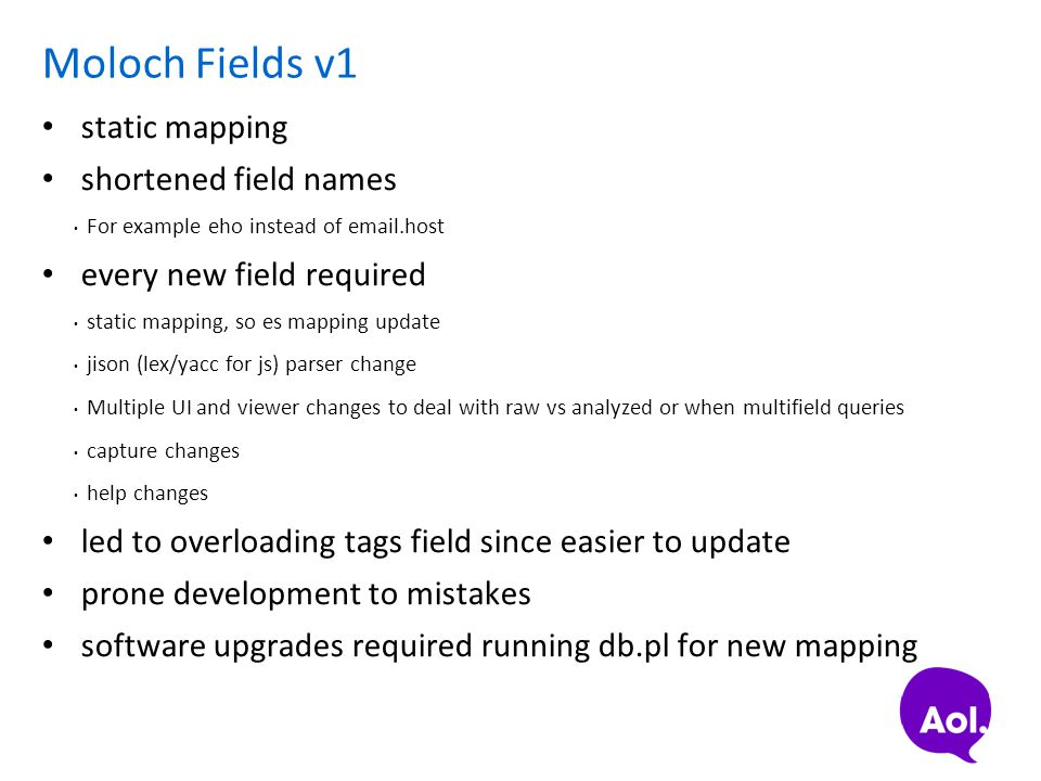 Moloch Fields v1 static mapping shortened field names For example eho instead of email.host every new field required static mapping, so es mapping upd