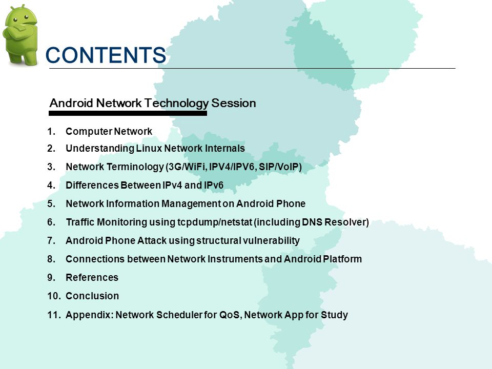 CONTENTS 1. Computer Network 2. Understanding Linux Network Internals 3. Network Terminology (3G/WiFi, IPV4/IPV6, SIP/VoIP) 4. Differences Between IPv