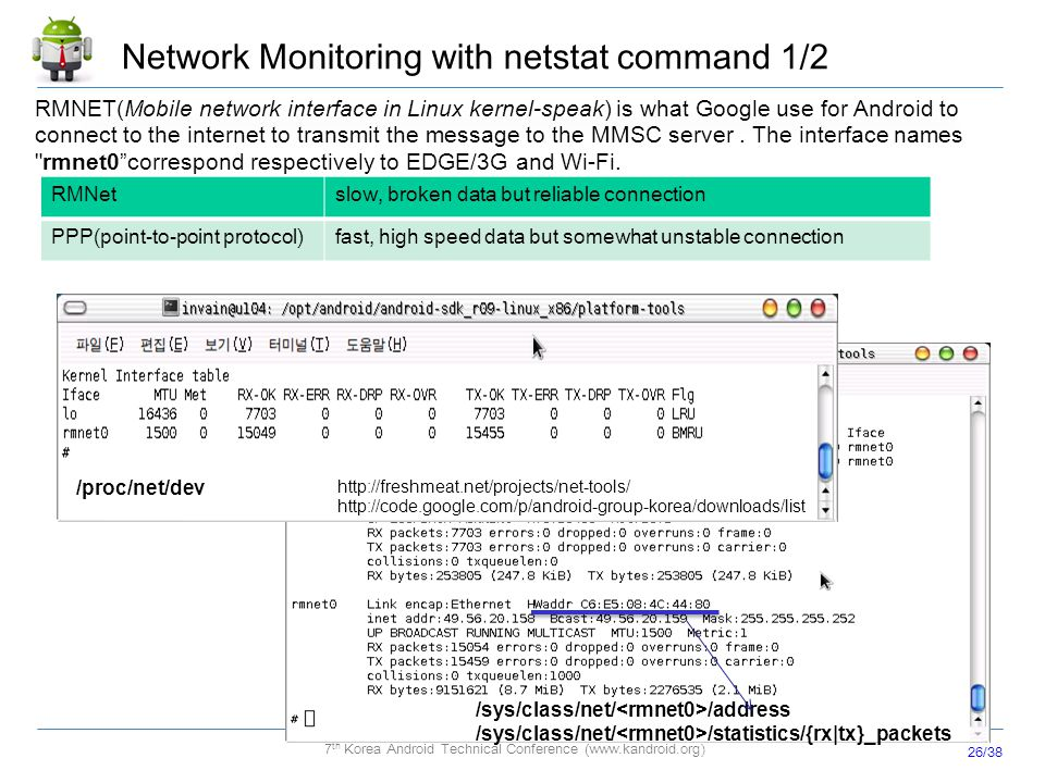 26/38 7 th Korea Android Technical Conference (www.kandroid.org) Network Monitoring with netstat command 1/2 /sys/class/net/ /address /sys/class/net/
