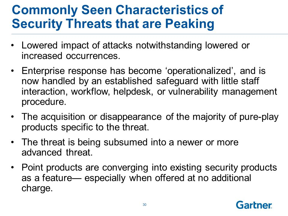 Commonly Seen Characteristics of Security Threats that are Peaking 30 Lowered impact of attacks notwithstanding lowered or increased occurrences.
