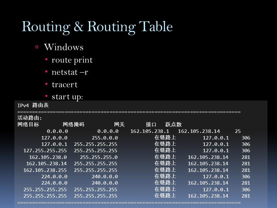 Routing & Routing Table  Windows  route print  netstat –r  tracert  start up: IPv4 路由表 =========================================================================== 活动路由 : 网络目标 网络掩码 网关 接口 跃点数 0.0.0.0 0.0.0.0 162.105.238.1 162.105.238.14 25 127.0.0.0 255.0.0.0 在链路上 127.0.0.1 306 127.0.0.1 255.255.255.255 在链路上 127.0.0.1 306 127.255.255.255 255.255.255.255 在链路上 127.0.0.1 306 162.105.238.0 255.255.255.0 在链路上 162.105.238.14 281 162.105.238.14 255.255.255.255 在链路上 162.105.238.14 281 162.105.238.255 255.255.255.255 在链路上 162.105.238.14 281 224.0.0.0 240.0.0.0 在链路上 127.0.0.1 306 224.0.0.0 240.0.0.0 在链路上 162.105.238.14 281 255.255.255.255 255.255.255.255 在链路上 127.0.0.1 306 255.255.255.255 255.255.255.255 在链路上 162.105.238.14 281 ===========================================================================