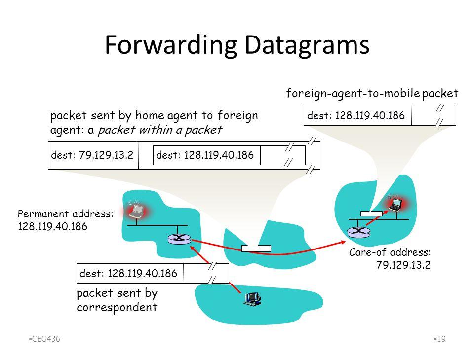 Forwarding Datagrams CEG436 19 Permanent address: 128.119.40.186 Care-of address: 79.129.13.2 dest: 128.119.40.186 packet sent by correspondent dest: 79.129.13.2 dest: 128.119.40.186 packet sent by home agent to foreign agent: a packet within a packet dest: 128.119.40.186 foreign-agent-to-mobile packet