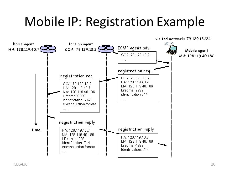 Mobile IP: Registration Example CEG43628