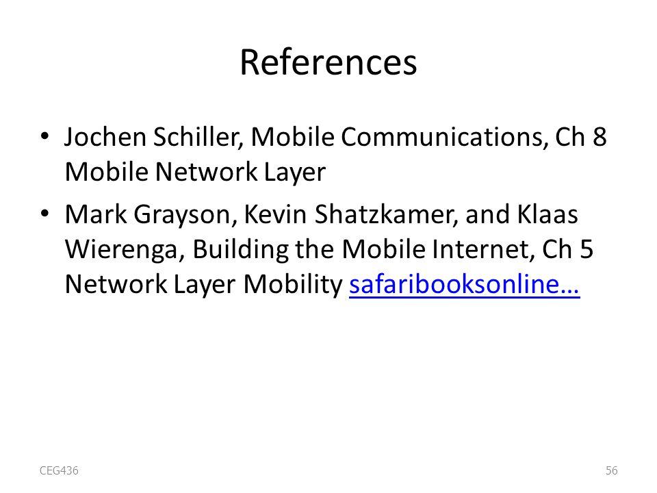 References Jochen Schiller, Mobile Communications, Ch 8 Mobile Network Layer Mark Grayson, Kevin Shatzkamer, and Klaas Wierenga, Building the Mobile Internet, Ch 5 Network Layer Mobility safaribooksonline…safaribooksonline… CEG43656