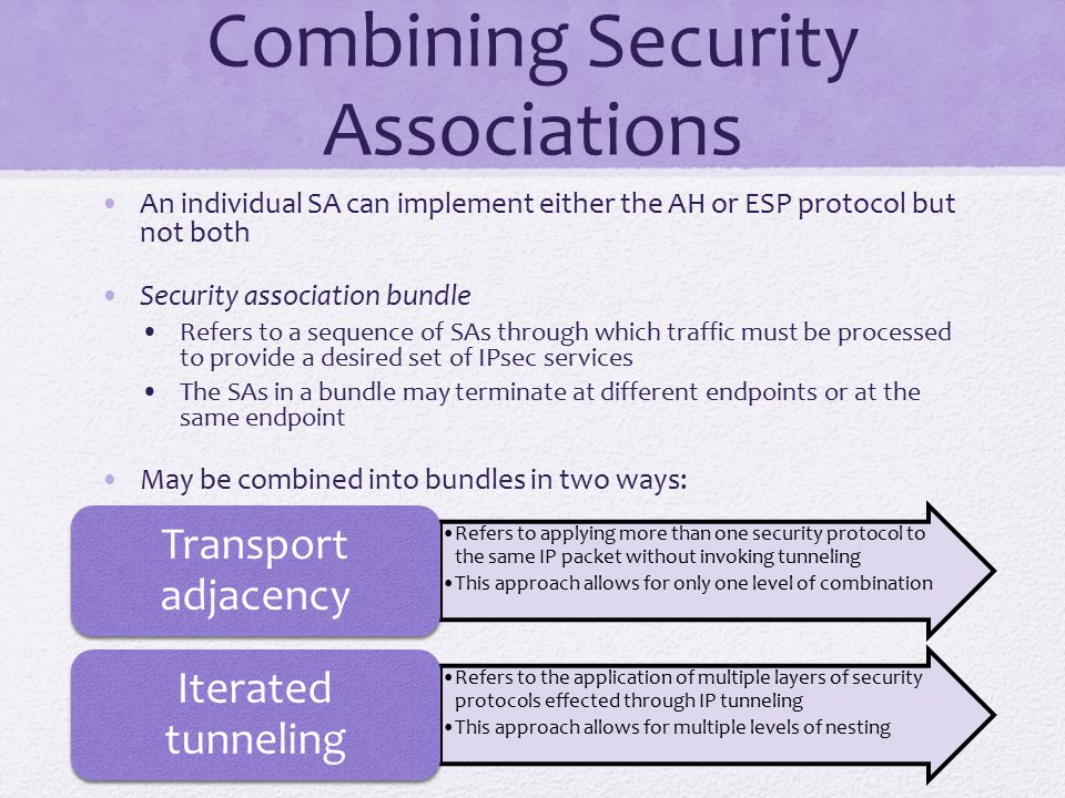 Combining Security Associations An individual SA can implement either the AH or ESP protocol but not both Security association bundle Refers to a sequence of SAs through which traffic must be processed to provide a desired set of IPsec services The SAs in a bundle may terminate at different endpoints or at the same endpoint May be combined into bundles in two ways: Refers to applying more than one security protocol to the same IP packet without invoking tunneling This approach allows for only one level of combination Transport adjacency Refers to the application of multiple layers of security protocols effected through IP tunneling This approach allows for multiple levels of nesting Iterated tunneling