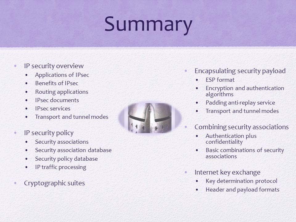 Summary IP security overview Applications of IPsec Benefits of IPsec Routing applications IPsec documents IPsec services Transport and tunnel modes IP