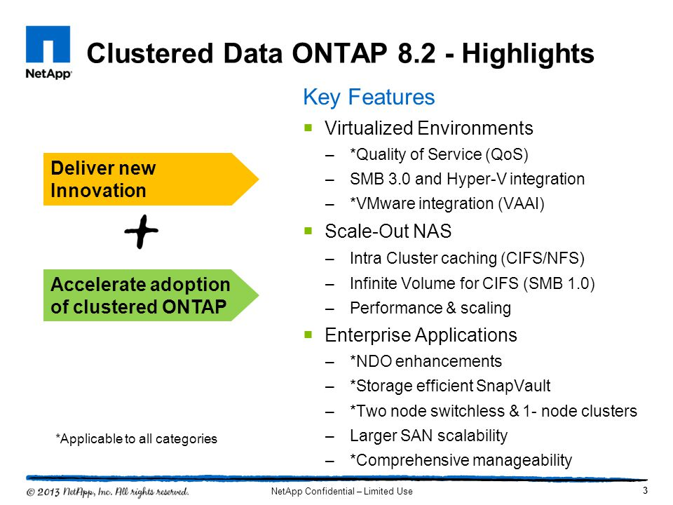 Clustered Data ONTAP 8.2 - Overview 4 Quality of Service (QoS) Quality of Service (QoS) Isolate hot workload, set workload IOPs limits Enable multi-tenant/multi-workload consolidation Higher Scaling Higher Scaling 49,152 LUNs in a 8-node SAN cluster 12,000 volumes in 24-node cluster Infinite Volumes support for NFS v4, pNFS, SMB 1.0 400 TB aggregates 100K NFS clients Support for BranchCache v2 Enhanced Virtualization Enhanced Virtualization Support for Hyper-V over SMB 3.0 with continuously available shares Expanded VMware VAAI support Ease of Deployment Ease of Deployment Single node cluster, 2 node switchless cluster configuration 7-Mode to Clustered ONTAP migration services Improved OnCommand support Better NDO Better NDO Controller upgrade w/o volume move maintaining access to data CIFS NDO for Microsoft Hyper-V with SMB 3.0 Next Generation SnapVault Next Generation SnapVault Volume based SnapVault enables fast, efficient backups Compression and dedup preserved over the network saving bandwidth NetApp Confidential – Limited Use