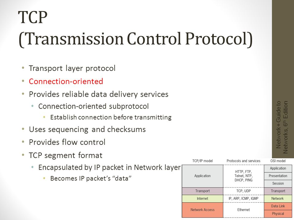 ICMP (Internet Control Message Protocol) Network layer protocol Reports on data delivery success/failure Announces transmission failures to sender Network congestion Data fails to reach destination Data discarded: TTL expired ICMP cannot correct errors Provides critical network problem troubleshooting information ICMPv6 used with IPv6 Command c:> ping 192.168.0.1 Network+ Guide to Networks, 6 th Edition 17