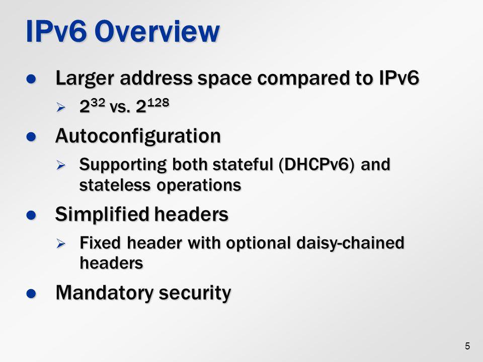 IPv6 Header Minimum header size = 40 bytes Minimum header size = 40 bytes  Header compression mechanism is needed 6 Ver Bit 0481216202428 0 Traffic Class Flow Label Payload Length Next Header Hop Limit Source Address Destination Address 32 64 96 128 160 192 224 256 288