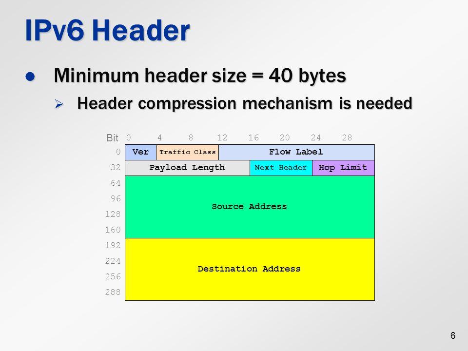 IPv6 Extended Headers More flexible than IPv4's option fields More flexible than IPv4's option fields Example 1: no extended header Example 1: no extended header Example 2: with a routing header Example 2: with a routing header 7 Next header = 6 (TCP) TCP hdr + payload Next header = 43 (routing) TCP hdr + payload Next header = 6 (TCP)