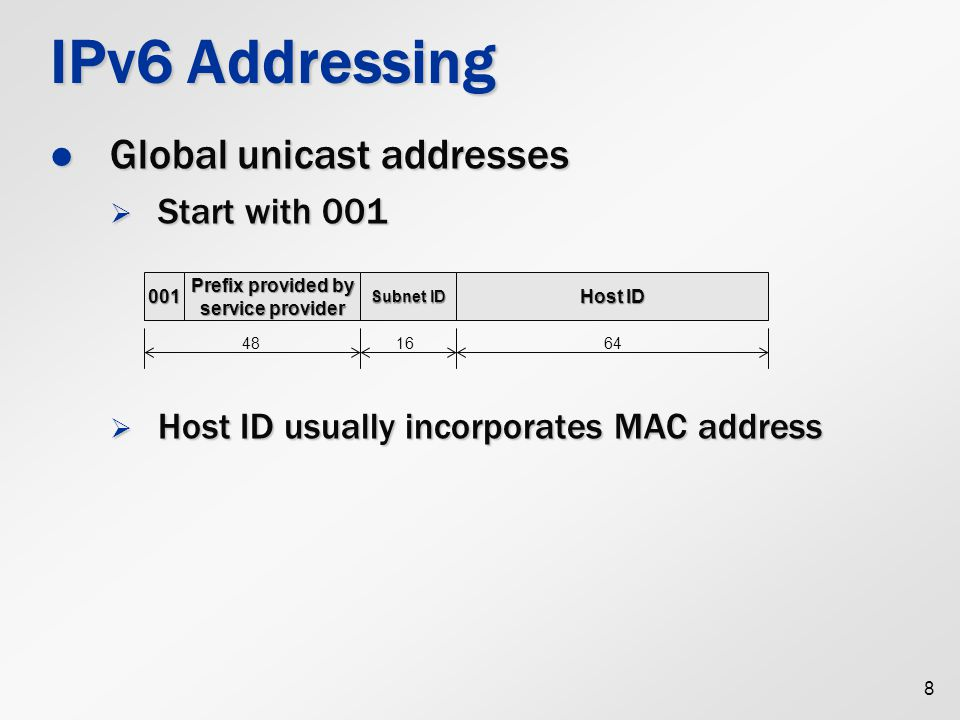 IPv6 Address Scopes Global addresses Global addresses  Globally routable Link-local addresses Link-local addresses  Only used within directly attached network  Belonging to FE80::/10 subnet 9 0Interface ID 1111 1110 10 10 bits 96dbc9FFFE0016fe 94dbc90016fe U = 0: not unique U = 1: unique xxxxxxUx