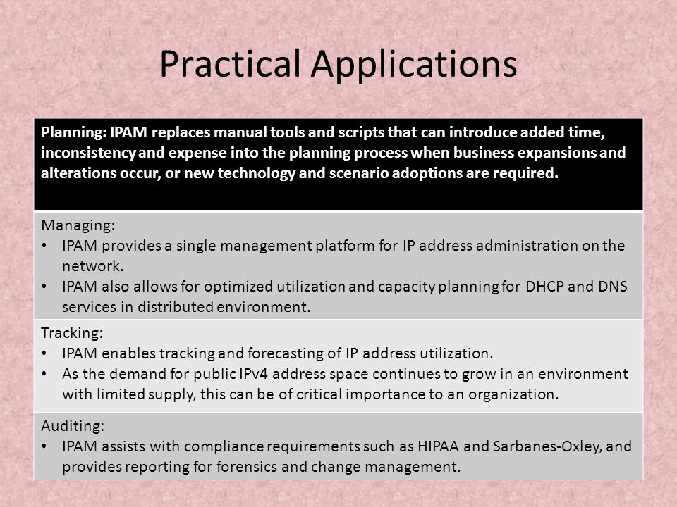 Practical Applications Planning: IPAM replaces manual tools and scripts that can introduce added time, inconsistency and expense into the planning pro