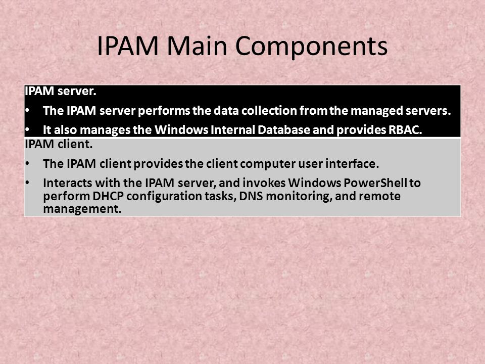IPAM Main Components IPAM server. The IPAM server performs the data collection from the managed servers. It also manages the Windows Internal Database