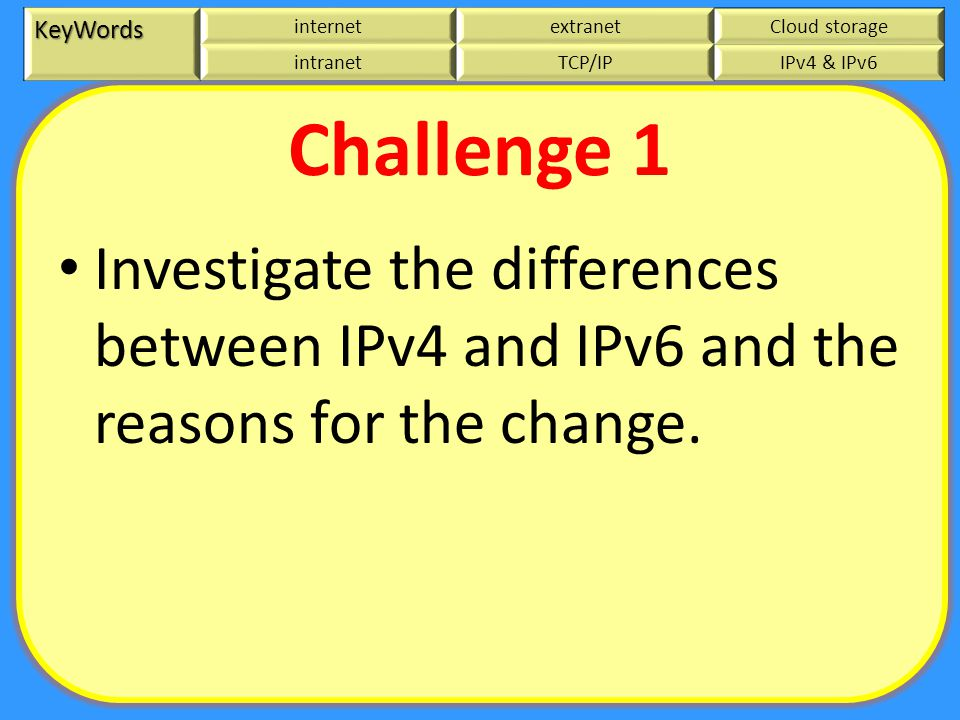 KeyWords internetextranetCloud storage intranetTCP/IPIPv4 & IPv6 Challenge 1 Investigate the differences between IPv4 and IPv6 and the reasons for the change.