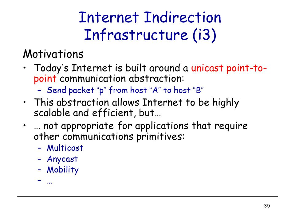 35 Internet Indirection Infrastructure (i3) Motivations Today's Internet is built around a unicast point-to- point communication abstraction: –Send pa