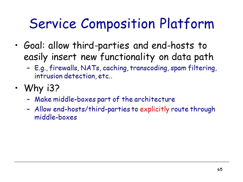 65 Service Composition Platform Goal: allow third-parties and end-hosts to easily insert new functionality on data path –E.g., firewalls, NATs, cachin