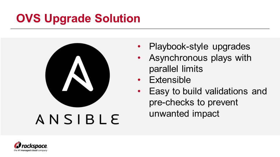 Playbook-style upgrades Asynchronous plays with parallel limits Extensible Easy to build validations and pre-checks to prevent unwanted impact OVS Upg