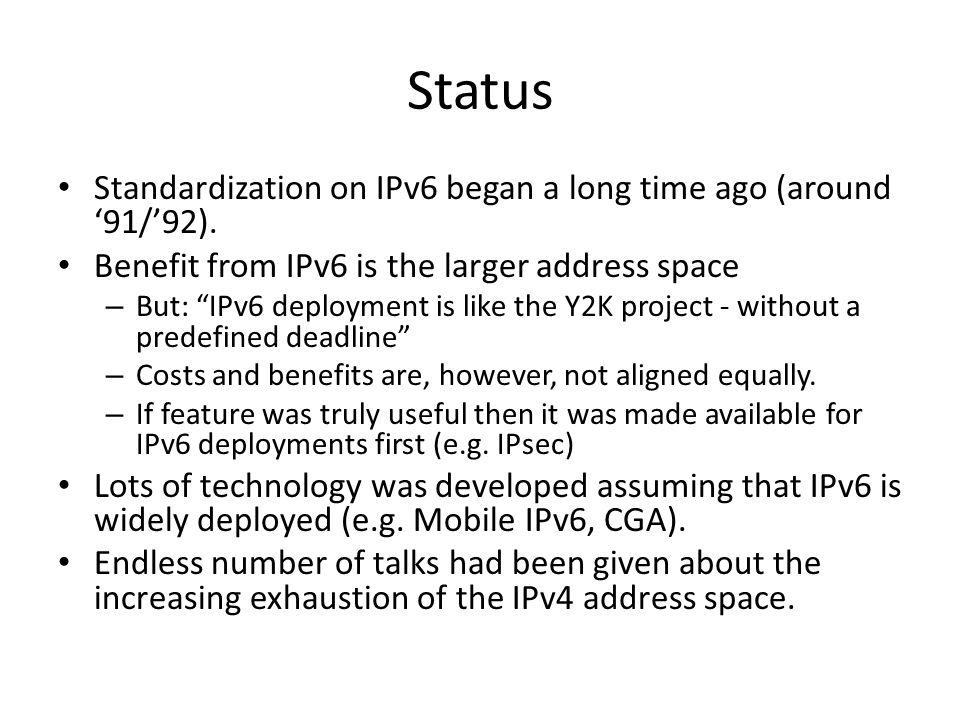 Status Standardization on IPv6 began a long time ago (around '91/'92).