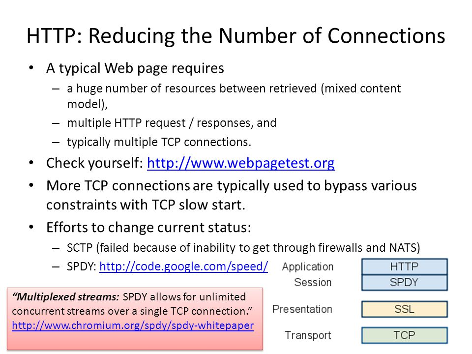 HTTP: Reducing the Number of Connections A typical Web page requires – a huge number of resources between retrieved (mixed content model), – multiple HTTP request / responses, and – typically multiple TCP connections.