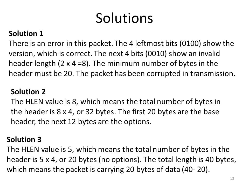 Solutions Solution 1 There is an error in this packet. The 4 leftmost bits (0100) show the version, which is correct. The next 4 bits (0010) show an i