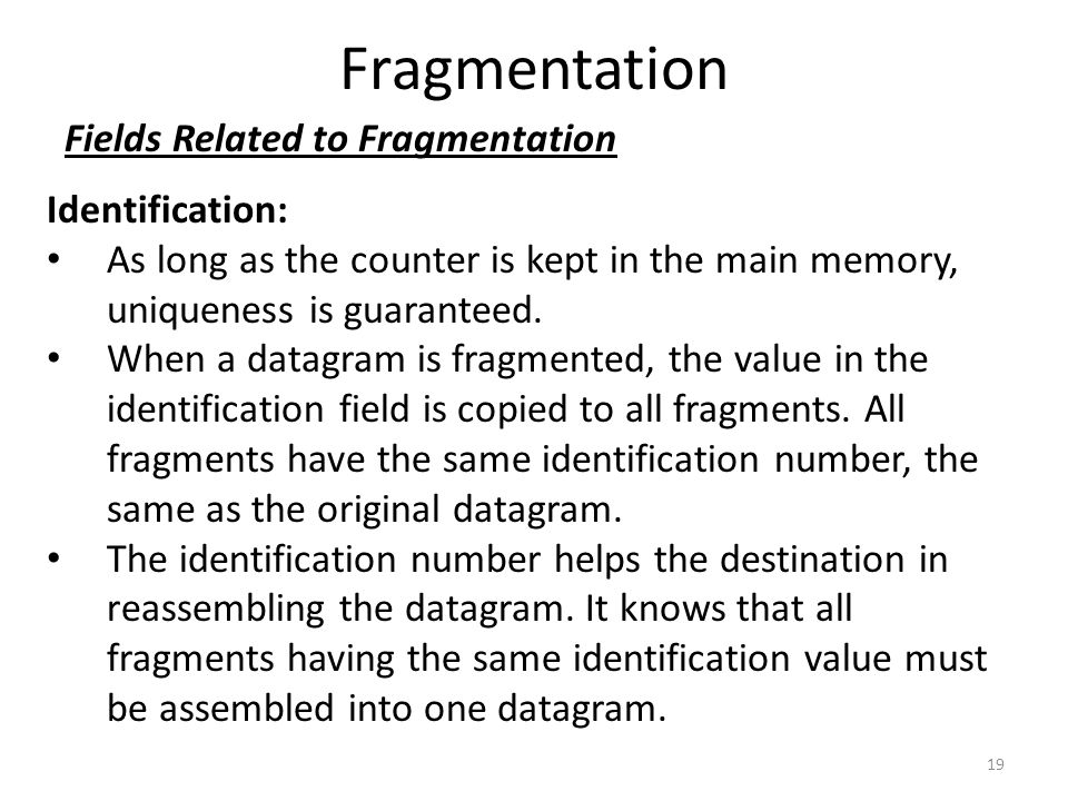 Fragmentation Fields Related to Fragmentation Identification: As long as the counter is kept in the main memory, uniqueness is guaranteed. When a data