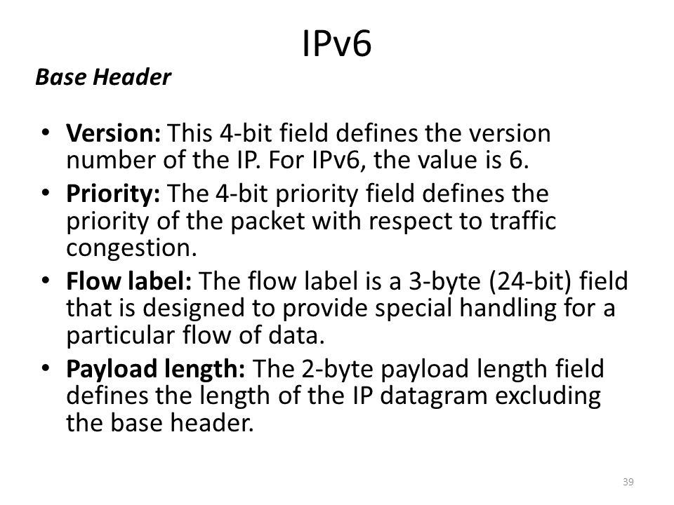 IPv6 Version: This 4-bit field defines the version number of the IP. For IPv6, the value is 6. Priority: The 4-bit priority field defines the priority