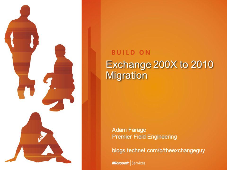 Exchange 200X to 2010 Migration Adam Farage Premier Field Engineering blogs.technet.com/b/theexchangeguy