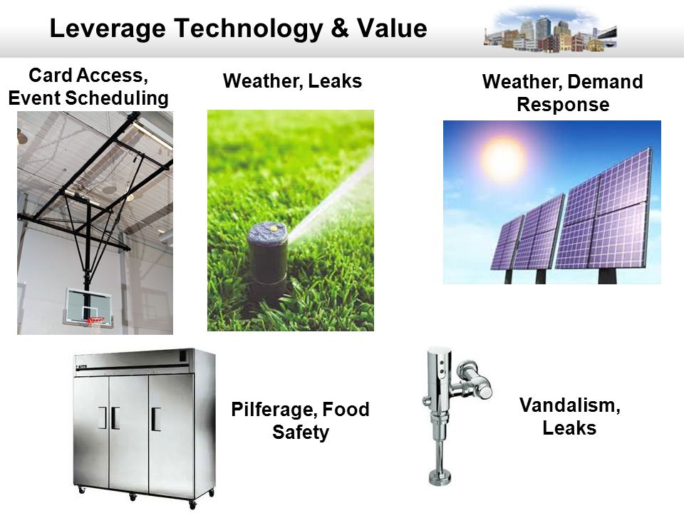 38 Leverage Technology & Value Weather, Leaks Pilferage, Food Safety Card Access, Event Scheduling Weather, Demand Response Vandalism, Leaks