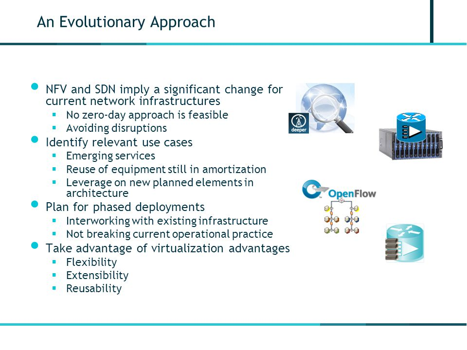 An Evolutionary Approach NFV and SDN imply a significant change for current network infrastructures  No zero-day approach is feasible  Avoiding disruptions Identify relevant use cases  Emerging services  Reuse of equipment still in amortization  Leverage on new planned elements in architecture Plan for phased deployments  Interworking with existing infrastructure  Not breaking current operational practice Take advantage of virtualization advantages  Flexibility  Extensibility  Reusability Soft-Node DS vCPE