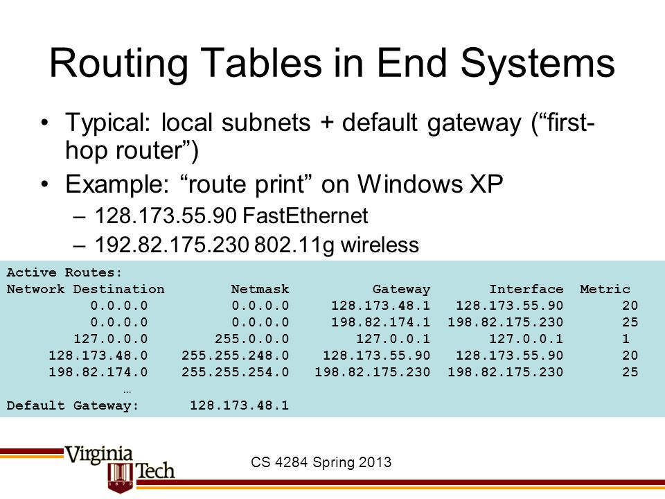 CS 4284 Spring 2013 Routing Tables in End Systems Typical: local subnets + default gateway ( first- hop router ) Example: route print on Windows XP –128.173.55.90 FastEthernet –192.82.175.230 802.11g wireless Active Routes: Network Destination Netmask Gateway Interface Metric 0.0.0.0 0.0.0.0 128.173.48.1 128.173.55.90 20 0.0.0.0 0.0.0.0 198.82.174.1 198.82.175.230 25 127.0.0.0 255.0.0.0 127.0.0.1 127.0.0.1 1 128.173.48.0 255.255.248.0 128.173.55.90 128.173.55.90 20 198.82.174.0 255.255.254.0 198.82.175.230 198.82.175.230 25 … Default Gateway: 128.173.48.1