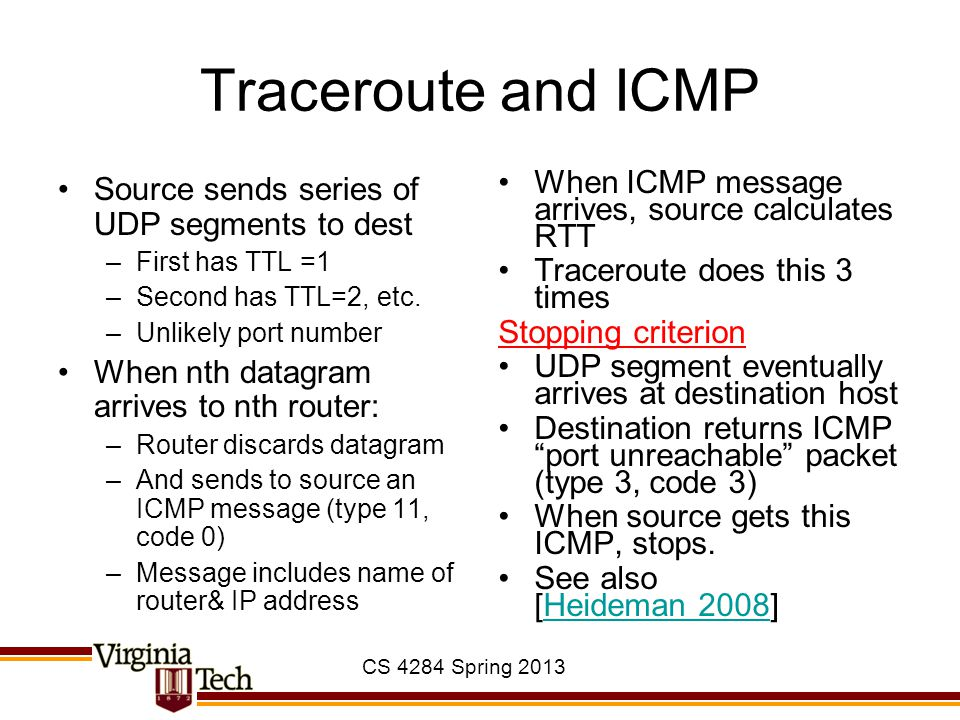 CS 4284 Spring 2013 Traceroute and ICMP Source sends series of UDP segments to dest –First has TTL =1 –Second has TTL=2, etc. –Unlikely port number Wh