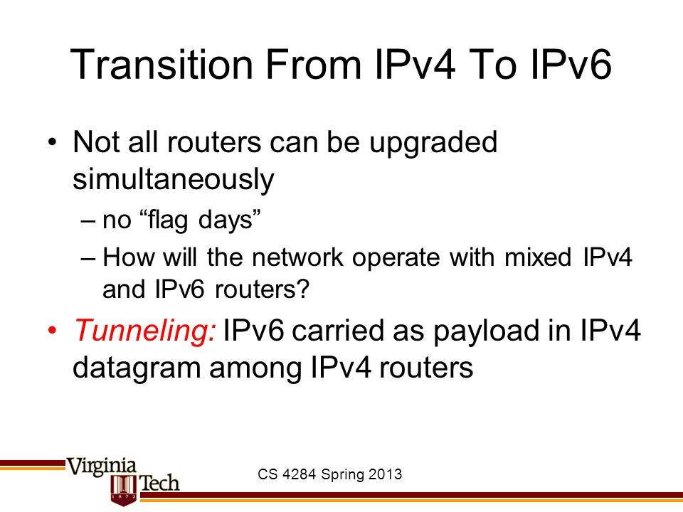 CS 4284 Spring 2013 Transition From IPv4 To IPv6 Not all routers can be upgraded simultaneously –no flag days –How will the network operate with mixed IPv4 and IPv6 routers.