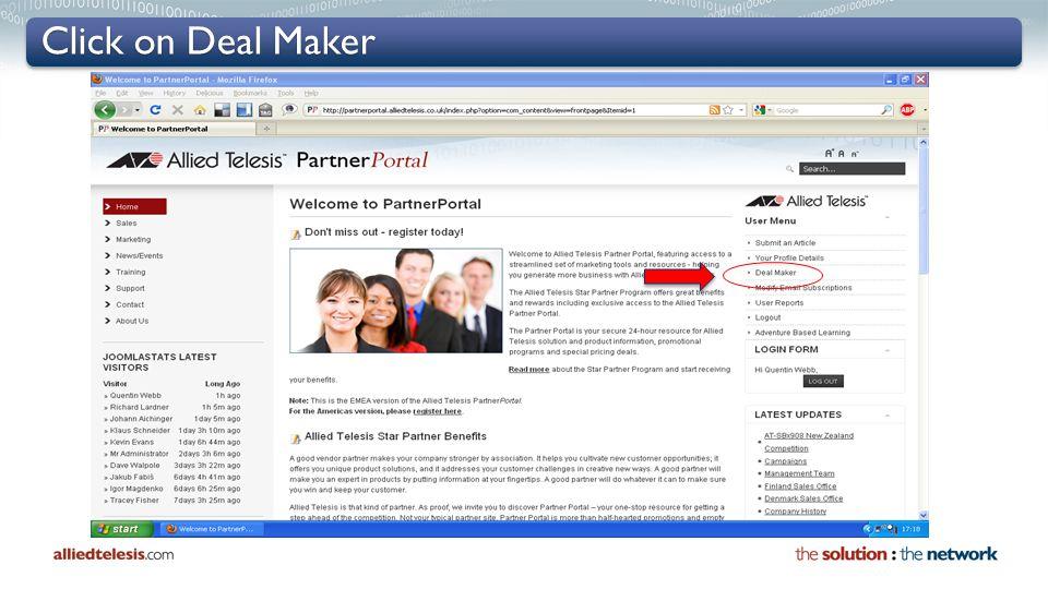Click on Deal Maker