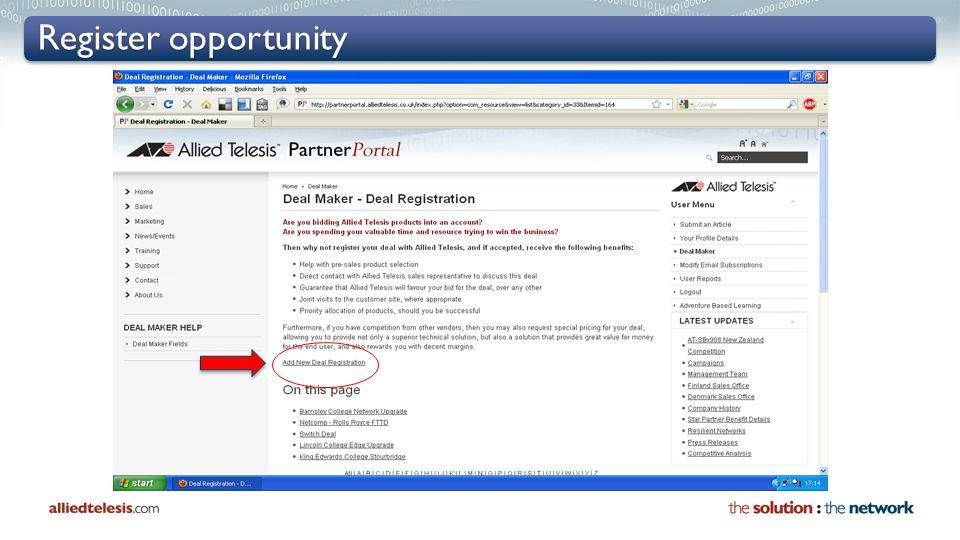 Register opportunity